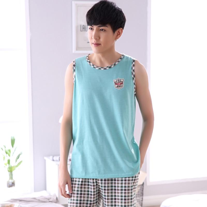 Summer Men Pajamas Home Clothing Sleeveless Vest Pyjamas Shorts Sleepwear Male Thin Cotton Sleep Lounge M-4XL Size