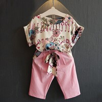 1 6Y 2pcs Baby Clothes Set Girl Child Floral T Shirt Tops Cropped Pants Outfit