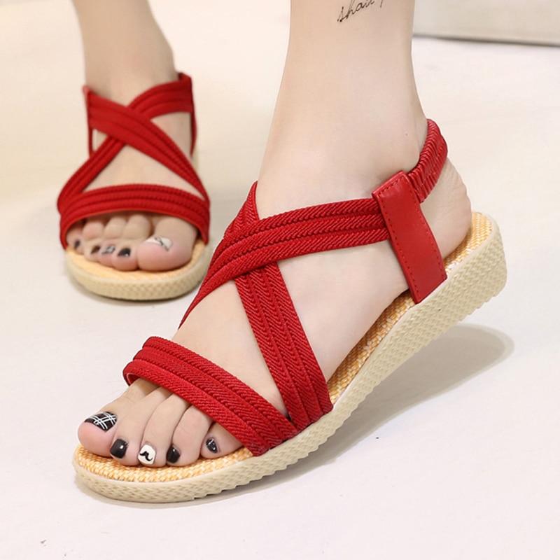54dd06a9b90b31 LAKESHI Women Sandals Cross-Tied Women Summer Flat Sandals Solid Color  Simple Women Shoes 5