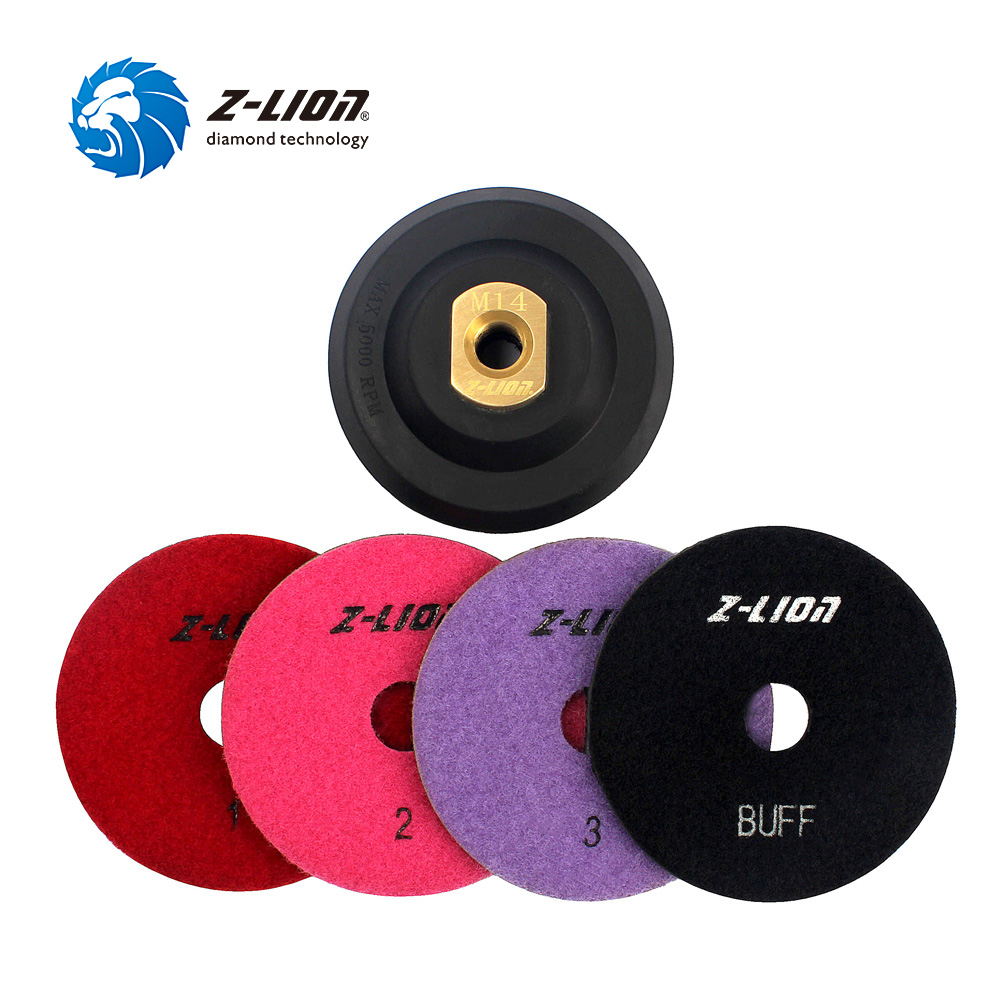 Z-LION 5pcs/Set Diamond Polishing Pad 3 Setp + Buff Polishing + Rubber Backer Pad Marble Granite Tile Grinding Disc Polishing Wh