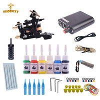 Tattoo Starter Kits 10 Wrap Coils Guns Machine Kit Set 6 Color Ink Sets Power Supply