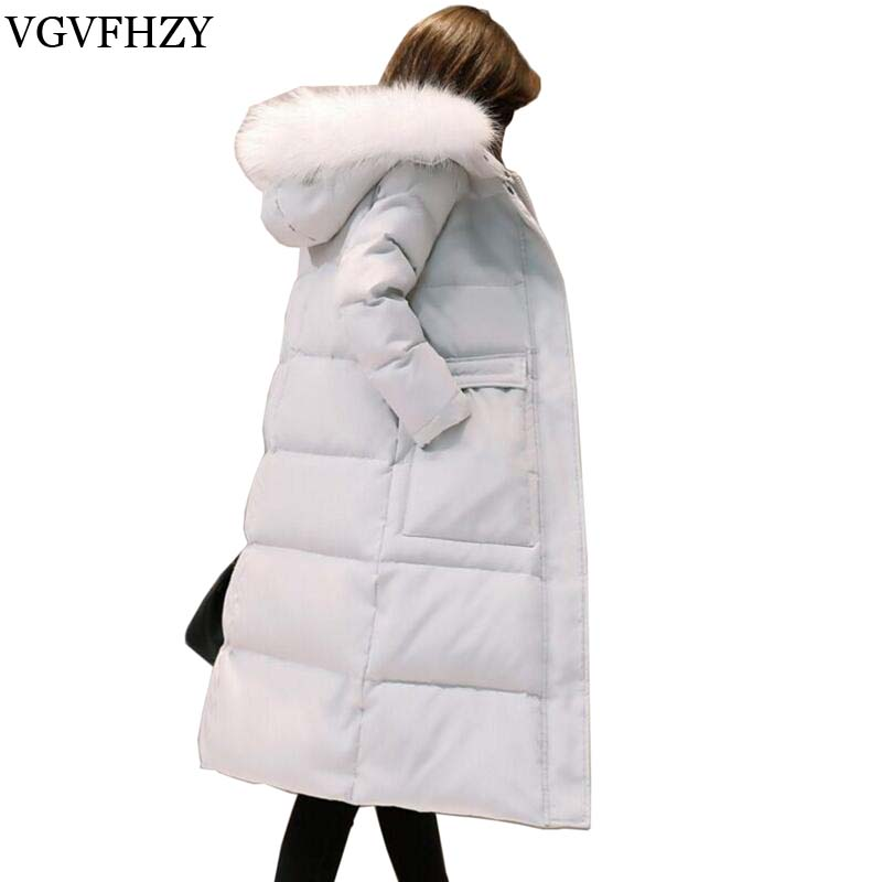 Warm Womens White Duck Down Jacket Padded Women Long Parkas Snow Winter Coat Female Fur Collar Hooded Jacket Casacos LY597