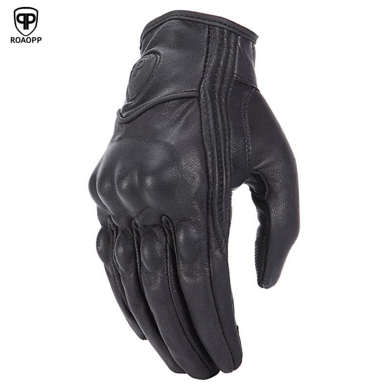 ROAOPP Retro Pursuit Real Leather Motorcycle Gloves Touch Screen Men Women Motocross Waterproof Electric Bike Gloves Moto Glove