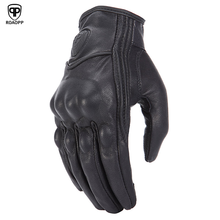 ROAOPP Retro Pursuit Real Leather Motorcycle Gloves Touch Screen Men Women Motocross Waterproof Electric Bike Gloves Moto Glove