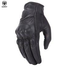 ROAOPP Retro Pursuit จริงหนังถุงมือรถจักรยานยนต์ Touch Screen ผู้ชายผู้หญิง Motocross ไฟฟ้ากันน้ำจักรยานถุงมือ Moto ถุงมือ