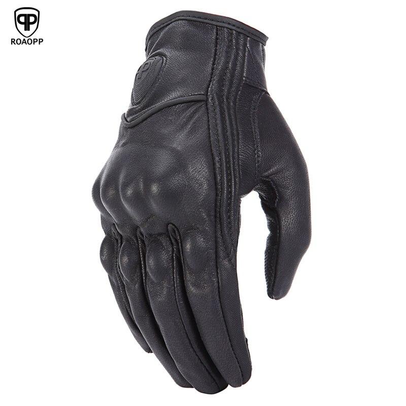 ROAOPP Retro Verfolgung Echt Leder Motorrad Handschuhe Touch Screen Männer Frauen Motocross Wasserdichte Elektrische Fahrrad Handschuhe Moto Handschuh