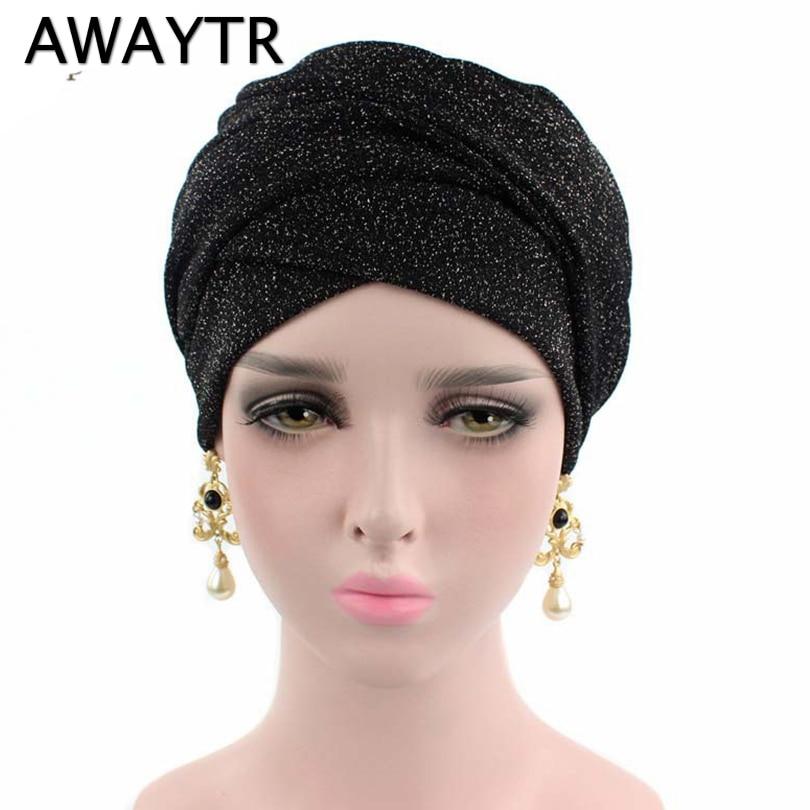 Bandanas AWAYTR Shiny Turban Muslim HeadBand for Women Fashion Head Wrap Scarf Female Hair Accessories Black Color Headbands