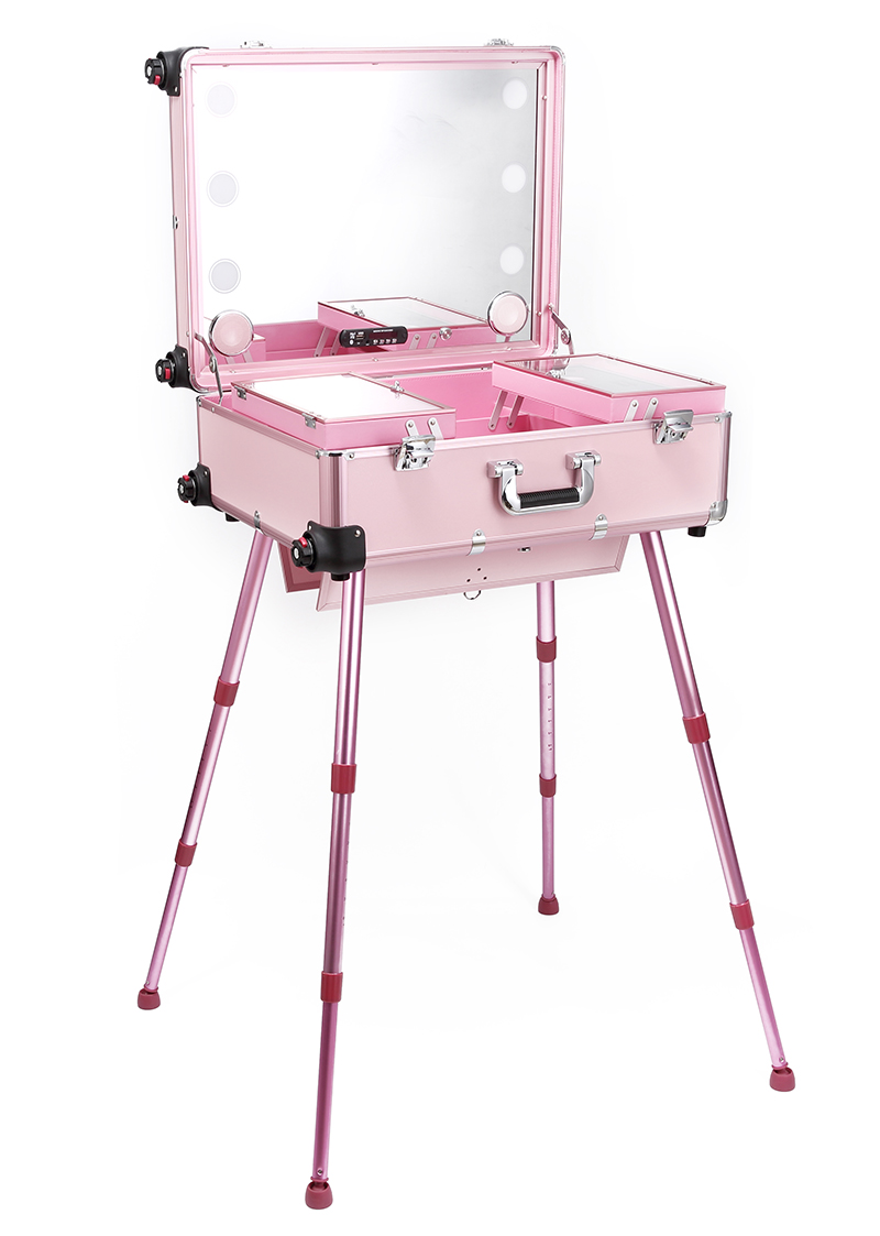 aluminum frame professional rolling studio makeup artist cosmetic case beauty trolley suitcase led light mirror box pink luggage TENSUNVIS Factory PINK Pro Studio Makeup Artist Cosmetic Rolling Case LED Light Trolley with MP3 player