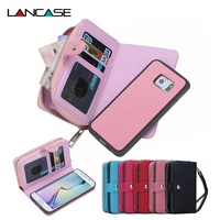 Purse Pouch Phone Cases For Samsung Galaxy S6 Edge Plus Multifunction Zipper Leather Wallet Case W