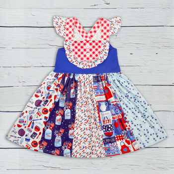4th of July Boutique Clothes Children Sleeveless Dress Baby Remake Clothes Girls Ruffle Dresses Match Romper LYQ903-633