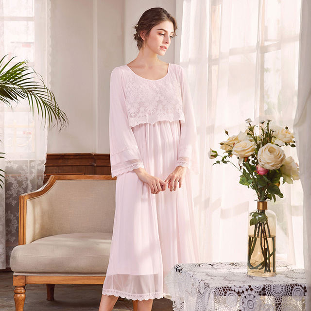 Women\'s Cotton Nightgown Victorian Vintage Long Nightdress Lace Robe ...