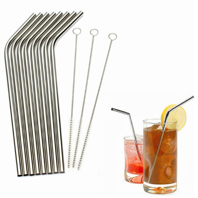 Whoelsale Eco Friendly 6Pcs Stainless Steel Metal Drinking Straw Reusable Straws + 3 Cleaner Brush Set New