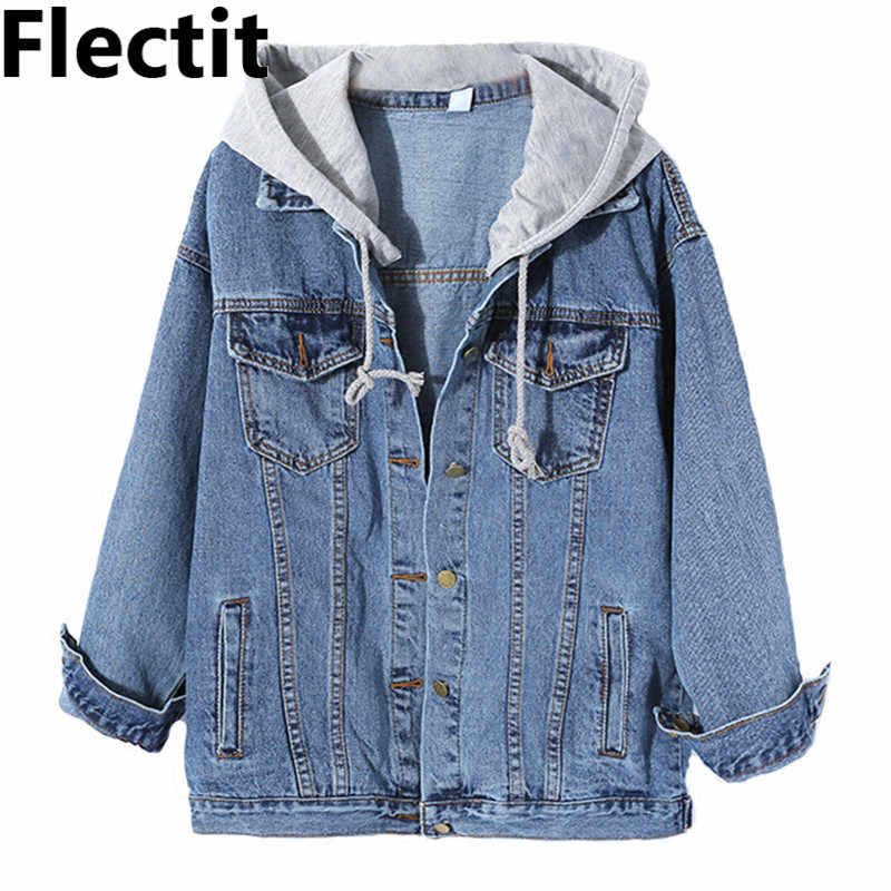 Flectit Women Jean Jacket Hooded Denim Jacket with Removable Grey Hood Oversized Jacket Coat Harajuku Street Styel