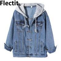 Flectit Women Jean Jacket Hooded Denim Jacket with Removable Grey Hood Oversized Jacket Coat Harajuku Street Styel