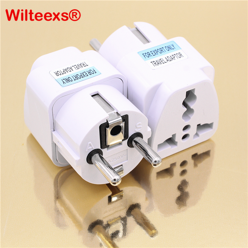цены WILTEEXS 1 PC New Arrival 2017 Best Price Universal UK US AU to EU AC Power Socket Plug Travel Charger Adapter Converter WHITE