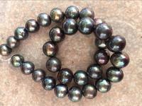 stunning13 15mm round black gren red pearl necklace 18925s KKK