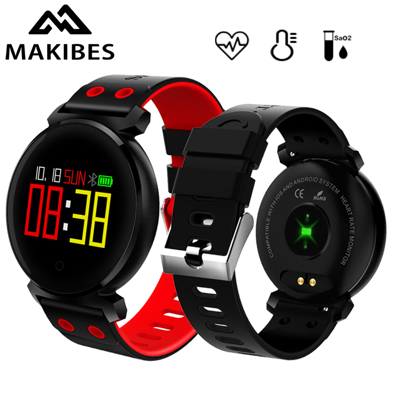 Makibes K2 Smart Bracelet Blood Pressure Smart Watch IP68 Heart Rate Monitor Blood oxygen detection Multilingual push Smart Band high quantity medicine detection type blood and marrow test slides