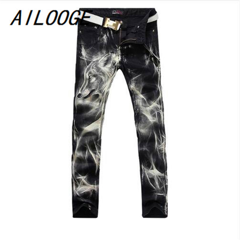 AILOOGE 2017 New Fashion Mens Wolf Printed Jeans Men Slim Straight Black Stretch Jeans High Quality Designer Pants Nightclubs