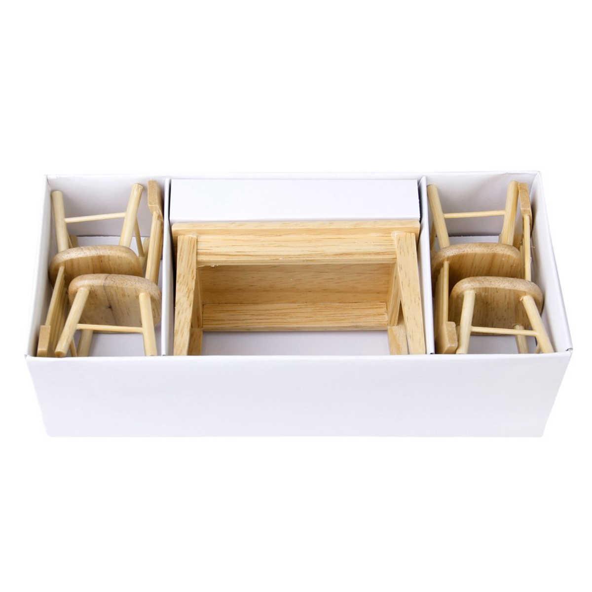 5 ピース/セット 1/12 ドールハウスミニチュアダイニングテーブル椅子木製家具セット家具のおもちゃ子供のおもちゃ