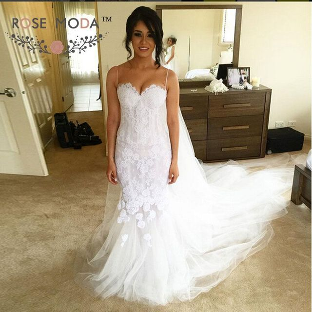 Chantilly Lace Mermaid Wedding Dress with See Through Skirt Thin ...