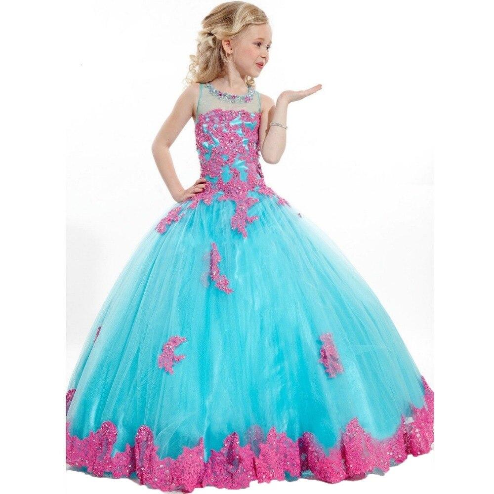 Elegant first communion dresses for girl Flower Girl Kids Dresses Appliques Beaded Tulle Ball Flower Girl Dresses for Weddings