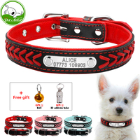 Personalized Engraved Dog Collar Custom Leather Puppy Cat Pet Collars With Name Plate Phone ID Tag