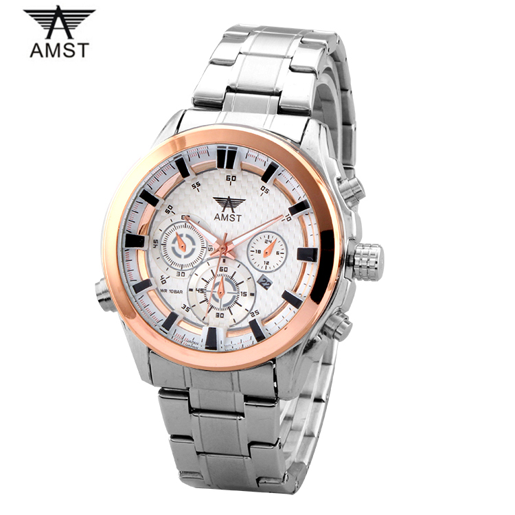 neos brand genuine watch men s stainless steel straps simple business fashion waterproof quartz fashion men s watch AMST Brand Fashion Complete Calendar Men Watch Luminous Stainless Steel 30M waterproof Business Men's Quartz Watches Wristwatch