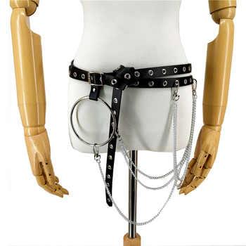 Leather Harness Women Waist O-ring Chain Belt Bdsm Pole Dance Pastel Goth Punk Leather Belts For Women Belt Bondage Harness