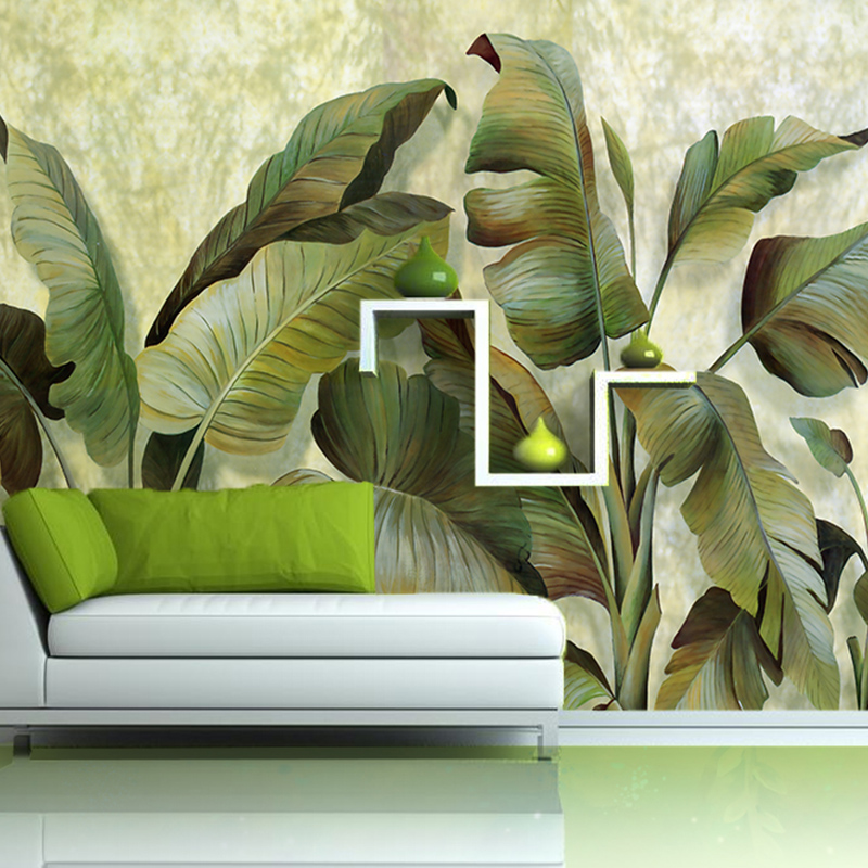 Custom Mural Wallpaper For Living Room Retro Banana Leaves Wall Embossed Non Woven Seamless Photo Paper Home Decor In Wallpapers From