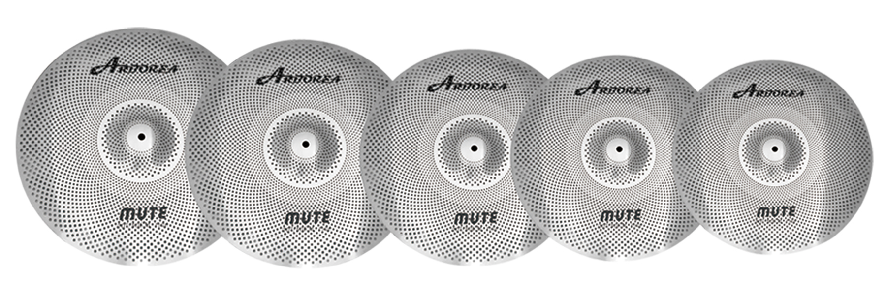Arborea Alloy Silver Mute Cymbal Pack 14''HH + 16'' Crash + 18'' Crash +20'' Ride+Cymbals Bag