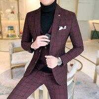 5XL Mens Wedding Suits Slim Fit Suit Men 3 Piece Suits Men
