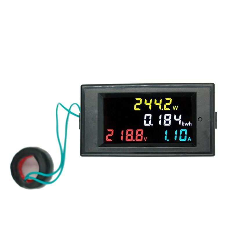 Color Screen Digital AC Voltmeter Ammeter 80~ 300V 100A Power Energy Meter Current voltage Monitor + CT Coil 40% off цена