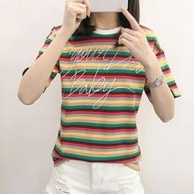 2019 New Summer Women T-shirt Rainbow Striped Letter Print Women's T-Shirt Fashion Trends Round Neck Short Sleeve T-Shirt Tops cute round neck short sleeve striped star print t shirt mini skirt twinset for girl