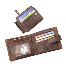 New Vintage Wallet Men Short Design Purse Male Genuine Leath