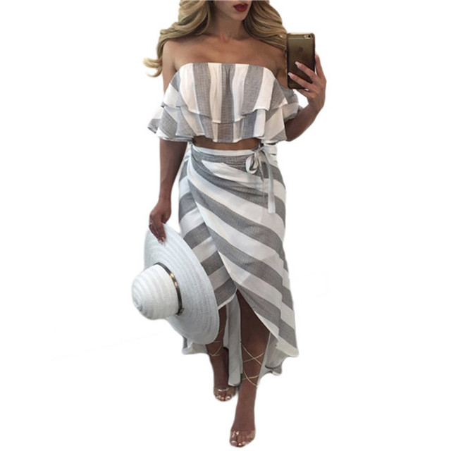 f75a3abb2f Spring Summer Women Beach Party Dress Sexy Casual White Gray Stripe  Patchwork Ruffles Two Set Strapless Outfits Mujer Club -in Women's Sets  from Women's ...