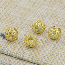 Spacers beads top quality 7mm free shipping 20pcs hollow gold plated approx round accessories elegant gifts jewelry making B2524