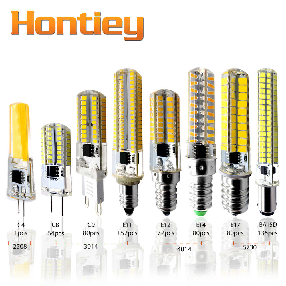 Hontiey LED Silicone Mini Corn Bulb AC 220V G4 G8 G9 E11 E12 E14 E17 BA15D White light Dimming Chandelier Replace Halogen Lamps