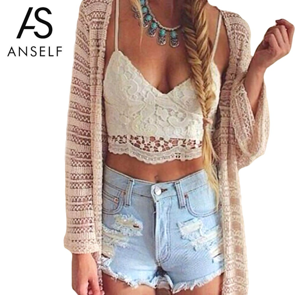 ANSELF 2019 Summer Sexy Women Crop Top Knitted Crochet Bra Deep V Neck