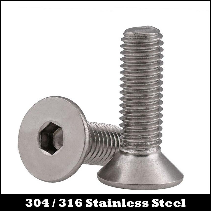 M5 M5 * 60 M5x60 M5 * 70 M5x70 M5 * 80 M5x80 de acero inoxidable 304 304ss DIN7991 perno hexagonal zócalo plano CSK tornillo de cabeza avellanada