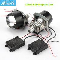 RONAN 70W 2.5inch Bi LED Car Projector Headlights Lens with LED beads white Retrofit Car Styling for H4 H7 car headlamp