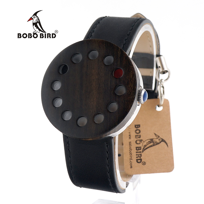 BOBO BIRD Top Brand Leather Strap Wooden Watches for Men and Women Japan Move' Quartz Wristwatches Ideal Gifts in Box