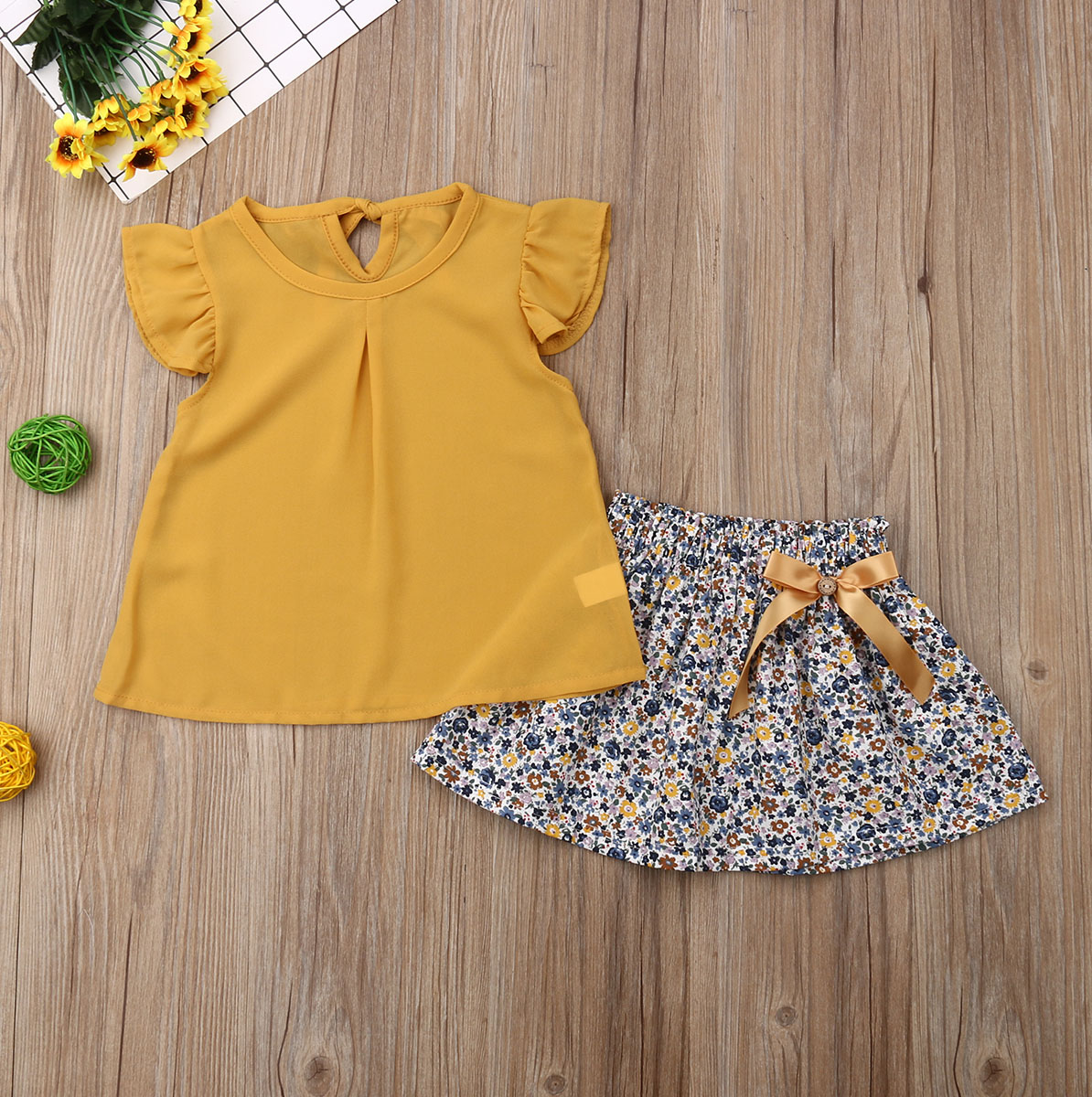 Toddler Baby Girl Summer Clothes Fly Sleeve Ruffle Tops Flower Print Tutu Skirt 2pcs Outfits Clothes