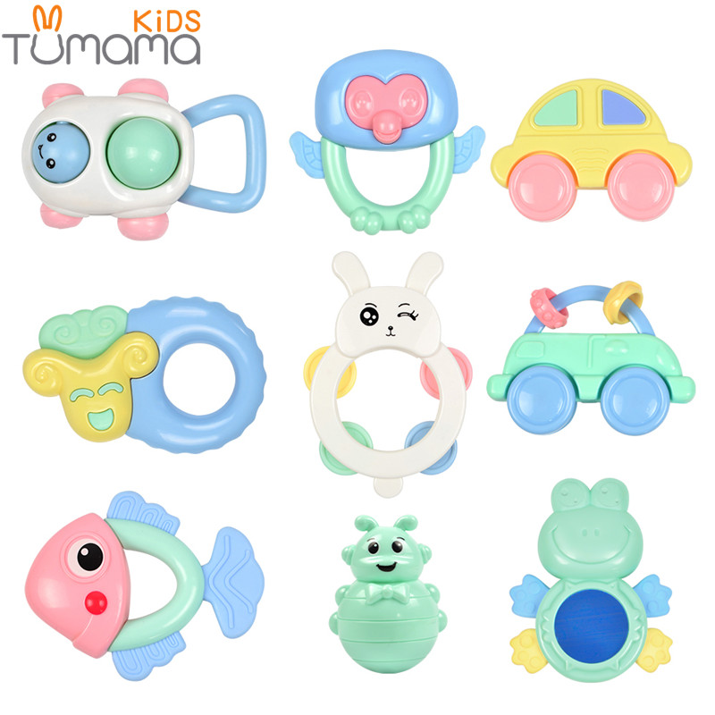 Tumama 9pcs/set Baby Rattles Toy Grasping Gums Plastic Hand Bell Jingle Shaking Rattle Toddler Educational Mobiles Music Toys baby toys