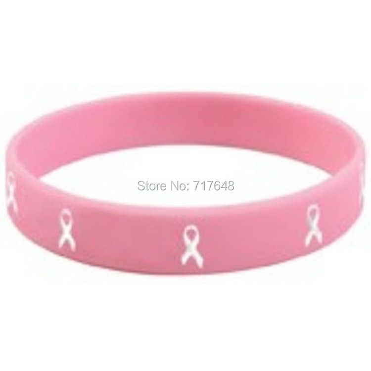 1pc Debossed Medical Alert Breast Cancer Wristband Silicone Bracelets Rubber Cuff Bangles A