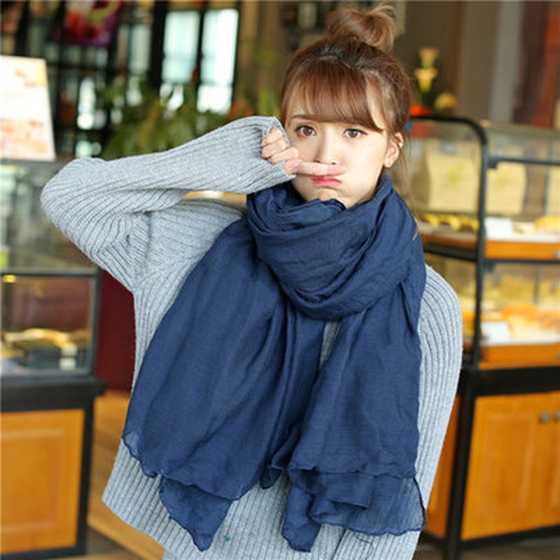 2019 Women Autumn Winter Scarf  Luxury Warm Solid Linen And Cotton Fashion Female Multi-purpose Autumn Winter Shawl