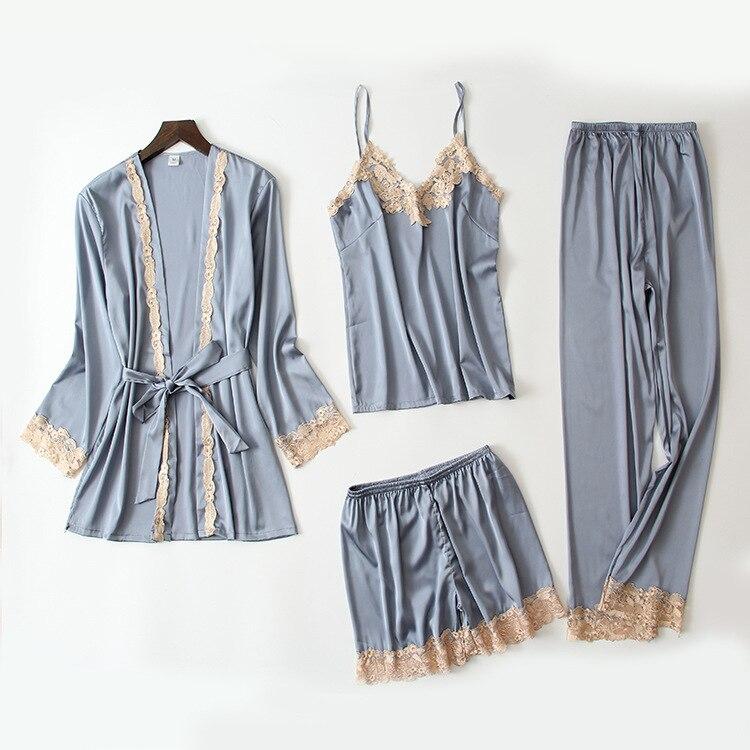 Queenral 4PCS Sexy Silk Pajamas Set For Women Satin Sexy Sleepwear Set Women Pajamas Set Mujer Invierno Home Clothes For Women  4