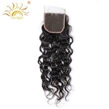 Солнечного света Человеческие волосы бразильский воды волна 4×4 Топ Синтетические волосы на кружеве Бесплатная Стиль матч пучки волос 100% remy Человеческие волосы бесплатная доставка