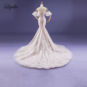 Image 4 - Liyuke Fabulous Dropped Waistline Mermaid Wedding Dress Court Train Inner Champagne Off The Shoulder Bridal Dresses