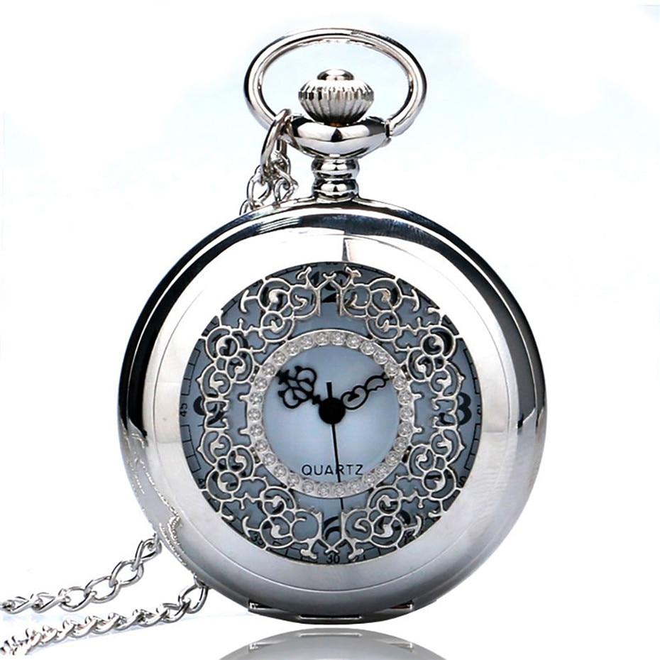 Antique Hollow Silver/Black Color Tone Quartz Pocket Watch Necklace Pendant Women Men Watches Fob Clock Hour Christmas Gifts