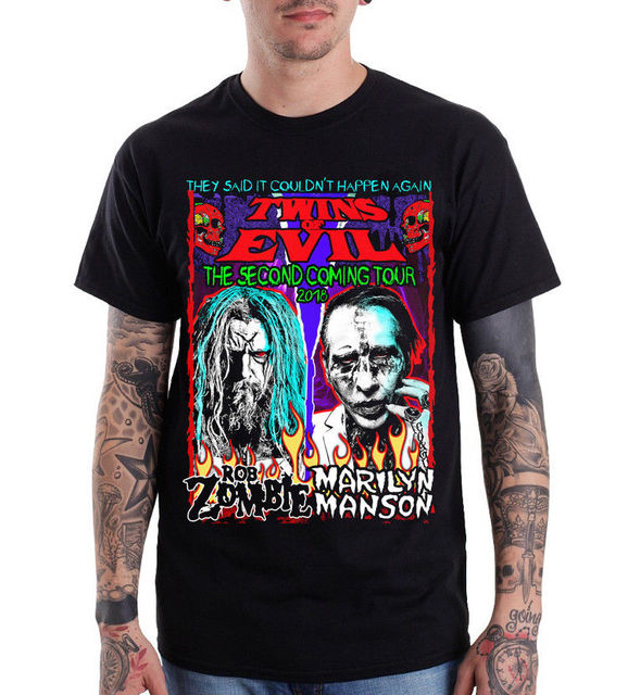 7fe2c55468c ROB ZOMBIE Marilyn Manson Twins Of Evil Tour 2018 T-Shirt size S - 3XL  Summer Casual Man T Shirts Good Quality top tee